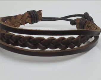 Braided Leather Bracelet Cuff Men and Women