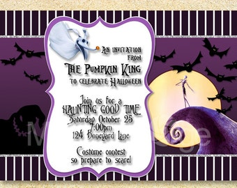 Jack Skellington Invitation, Nightmare Before Christmas, Halloween Invite,  Jack The Skeleton, Halloween Wedding, Baby Shower Invitation.