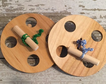 Toy Spinning Wheels - Great exercise toy - Handcrafted Wooden Pioneer Toy Spinning Wheels Set of 2 - Great for Hand Arm and Chest Exercise