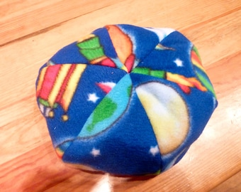 Stuffed Animal Bean Bag Chair - Fleece Fabric with Rockets and Planets - Blue, Orange, Red, Yellow
