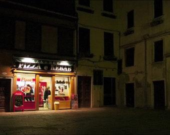 Venice - Italy - Pizza Ristorante at Night - Color Photo Print - Art Photography (IT04)