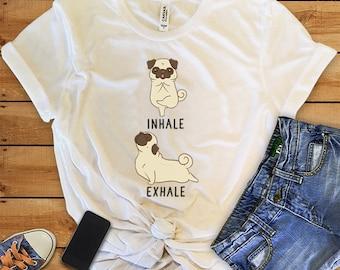 Inhale Exhale Pug Yoga T-shirt, Heather Dog lovers Tshirt, Funny Dog Tee Shirts, Yoga lover Dog Lovers gift, Pug Gifts
