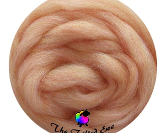 Needle Felting Wool Roving / ES26 Peach Moonstone Carded Wool Sliver