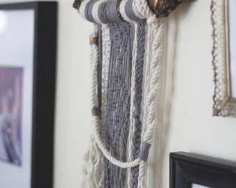 Small Mixed Macrame Wall Hanging on Reclaimed Wood