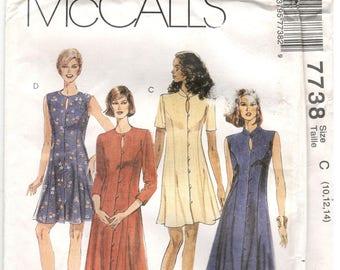 McCall's 7738 Size 8, 10, 12  or 10, 12, 14 Women's sleeveless, long or short sleeve princess seam dress sewing pattern, mandarin collar