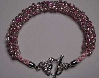 Pink and white Silver lined size 6 seed bead Bracelet-Pink and White Kumihimo Bracelet-Silver Plate Toggle Clasp Bracelet.