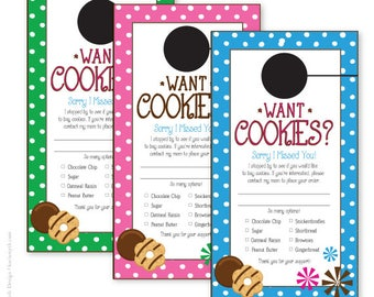 Cookie Dough and Cookie Sales Polka Dot Door Hanger. Personalized & Printable. Perfect for school, group, club or scout cookie fundraisers.