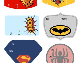 Super Hero and Comic Book Gift Tags