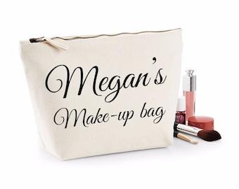 Personalised Script Names Make Up Bag Make Up Wash Bag Toiletry Canvas Birthday Christmas Gift Present