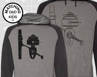 Matching Dad and Me Shirts, Fishing Reel, Father Son Matching Shirts, Men's Hoodie, Boys Hoodie, Girls Hoodie, Dad Gift, Fishing Shirt