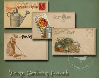Vintage Gardening Postcards Printable Digital Download