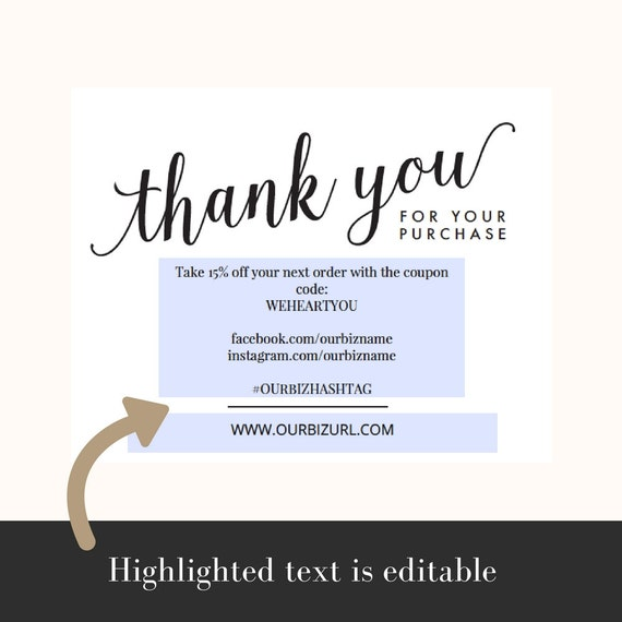Instant business thank you cards editable pdf printable instant business thank you cards editable pdf printable packaging inserts for online shops etsy sellers calligraphy style amelia reheart Images