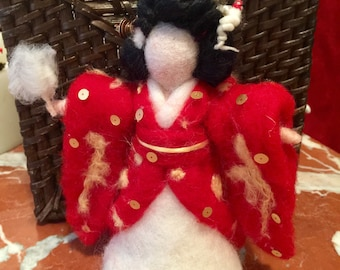 Japanese  Geisha/bride, in fairy carded wool in style Waldorf,
