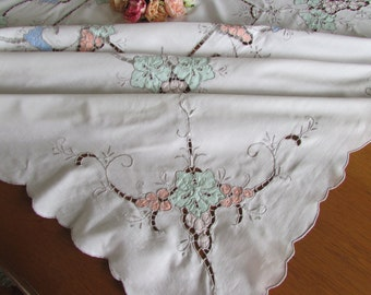 Vintage Cotton Tablecloth - Madeira Lace Work -  Vintage 70s Tablecloth - Cut Work Tablecloth - Garden Party - Square Tablecloth