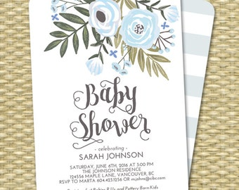 Baby Boy Shower Invitation, Boy Baby Shower Invite, Baby Shower, Floral Baby Shower, Blue Mint Boy Baby Shower, Sip and See ANY EVENT