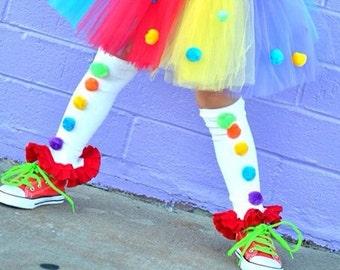 Rainbow Ruffle Leg Warmers- Baby Legs- Ruffle Leg warmers- Rainbow Leg Warmers-Circus Clown- Polka dot leg warmers