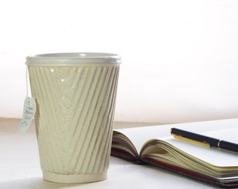 Coffee cup or ceramic travel mug. Porcelain cup in taupe and white. Ceramic travel cup for use as a tea cup, coffee cup or succulent planter