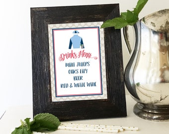 DERBY PARTY drinks menu sign, table signs, Kentucky Derby party, add your own text, bar,  instant download, diy, printable file, editable
