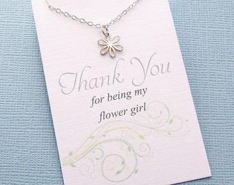 Flower Girl Gift   Flower Necklace, Flower Girl Proposal, Flower Girl Necklace, Bridesmaid Gift, Flower Girl Basket, Boho Wedding   B02