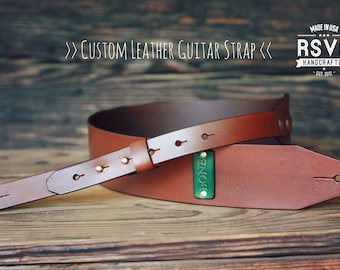 Custom Leather Guitar Strap, Acoustic, Electric, Bass, Dobro, Banjo, Adjustable, Handmade personalized gift. Customize name, initials