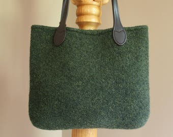 Olive green wool felt tote bag