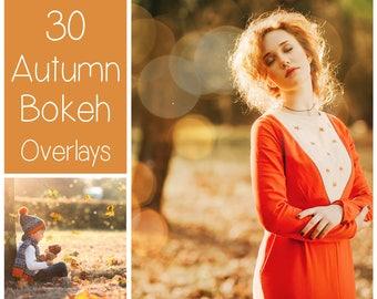30 Autumn Bokeh Overlays - Gold Bokeh  - Light Textures - Fall Photoshop Overlays - Bokeh Textures - Sparkle Overlays  - PS Autumn Effects
