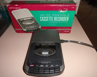 Vintage cassette tape player and recorder with box-cassette tape-vintage tape- vintage gift- music lover gift--