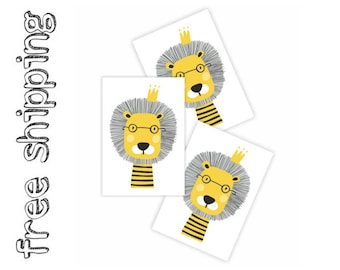 "Set of 3 temporary tattoos ""Lion King with glasses"". Kids body stickers in scandinavian style. Skinsafe and long lasting kids tattoos. TT232"