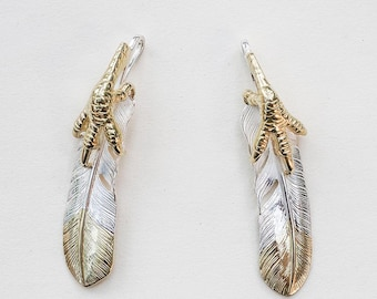 Silver Feather Pendant | Native American Inspired | Eagle Talon Charm | Eagle Claw Pendant | Tribal Feather Charm | Feather Jewelry for Men