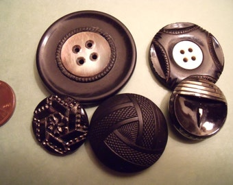 Vintage Victorian Button Lot, Black Glass, Silver Luster, Mother of Pearl
