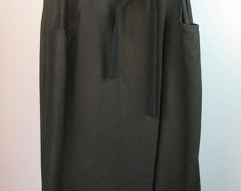 Wool Wrap Skirt / Vtg 80s / British Khaki Black Wool Wrap Skirt