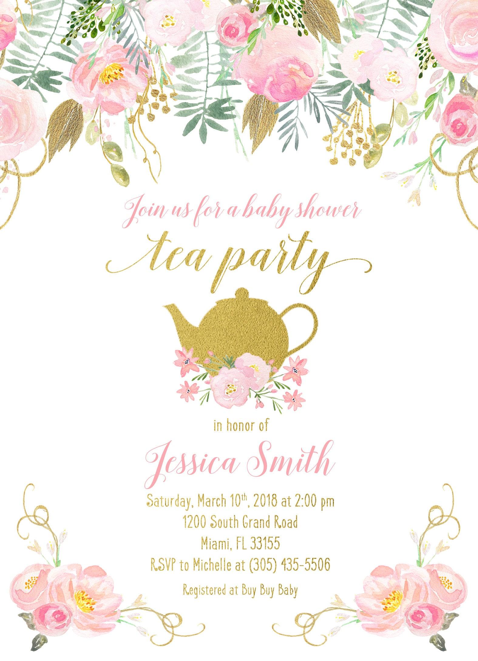Tea Party Baby Shower Invitation, Tea Party Invitation, Baby Shower ...
