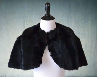 1930s Black Fur Capelet Stole