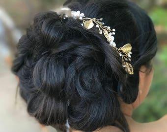 Gold Leaf Hair Vine, Bridal Leaf Hair Vine, Wedding Hair Accessory, Bridal Hair Wreath, Pearl Hair Crown, Rhinestone Hair Vine
