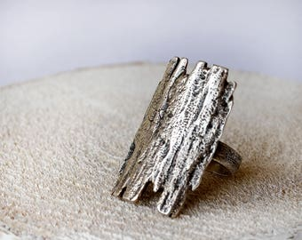Statement Bark Silver ring,  sterling silver bark ring, Nature silver ring