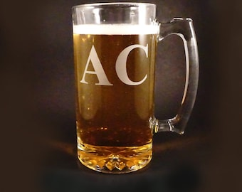 Personalized Monogrammed Beer Mugs - Custom Beer Mugs - Fathers Day Gift - Man Cave Gift - Fraternity Brother Gift - Etched Beer Mugs