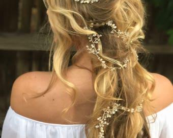 Long Hair Vine, Pearl Hair Vine, Crystal Hair Vine, Wedding Hair Accessory, Bridal Hair Wreath, Pearls Hair Crown, Rhinestone Hair Vine