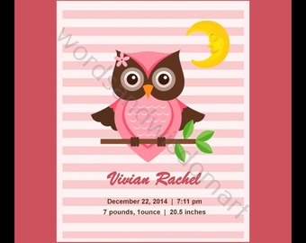 Owl Birth Announcement (Girl)