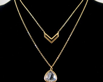 Double Layer Gold Chevron Arrow and Clear Crystal Quartz Semi Precious Stone Necklace Set on Chain - All-in-one!