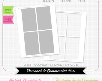 3x5 Buffet Food Card Template - INSTANT DOWNLOAD - PRINTABLE - diy party printables