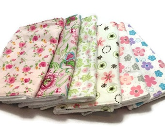 Baby Burp Cloths, Burp Rags, Set of 6, baby accessories, baby bibs, Changing Pad, Baby Gift, baby shower gift, baby girl gift, floral burp