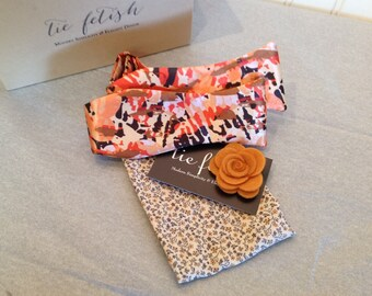 Peach, Orange, brown and cream bow tie and pocket square dapper box set