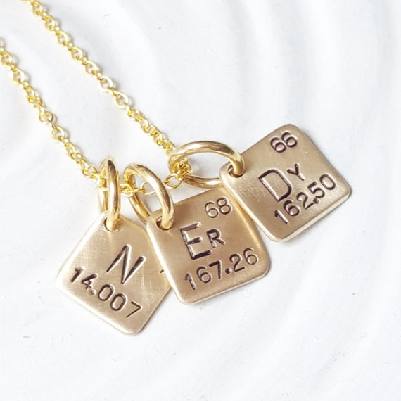 Itty bitty jewelry periodic table element necklace hand urtaz Images