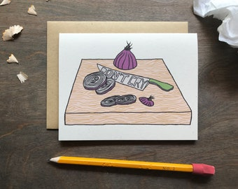 Get Well Card, Breakup Gift, Don't Cry Because Art, Vegetable Print, Onion Card
