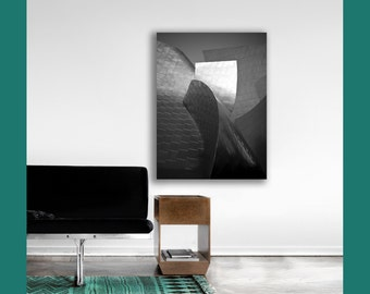 Disney Concert Hall on Canvas, Gray, Silver, Modern, Abstract, Canvas Wall Art, Large Wall Art