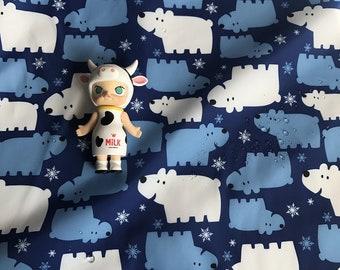 Piggy Print Kid Fabric for Down Coat Waterproof  Print Blue Color