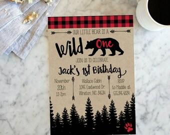 Wild One Adventure Birthday Party Invite, Boys Arrow Bear Lumberjack Woodland Invitation, Red Black Plaid, Wild One Trees # 2059