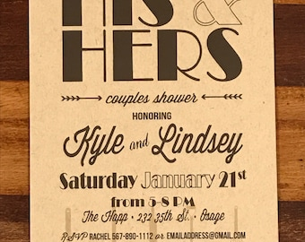 His and Hers Couple Wedding Shower, Couples Shower invite