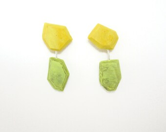 Yellow Statement Earrings, Lime Green Mod Earrings, Geometric Earrings, Mix and Match Earrings, OOAK Earrings, Handmade Sterling Silver