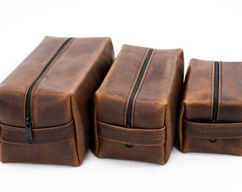Leather Travel Bag, Personalized Toiletry Bag, Kentucky Derby Brown, Oil Tanned, Shave Bag, #FPA-5